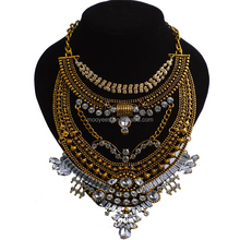 fashion big necklace thousands stones pendent lady high quality choker pendent wedding statement necklace