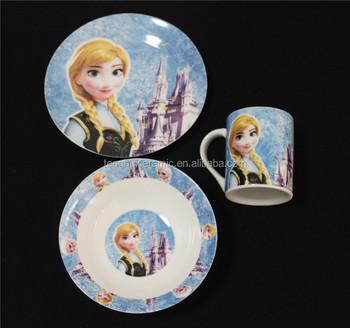 TH5237 Frozen Anna Children Dinnerware Sets Suitable for Kids Ceramic Porcelain Kids Dinner Set & Th5237 Frozen Anna Children Dinnerware Sets Suitable For Kids ...