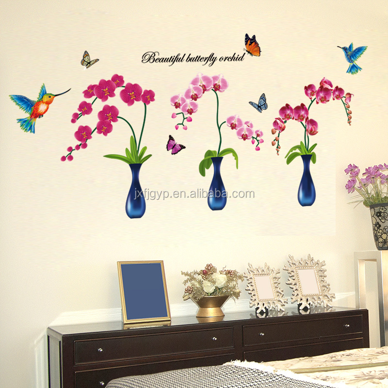 Removable Eco-friendly PVC bedroom sofa beautiful butterfly orchid phalaenopsis flowers wall stickers for decoration