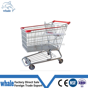 American style folding metal supermarket shopping trolley cart