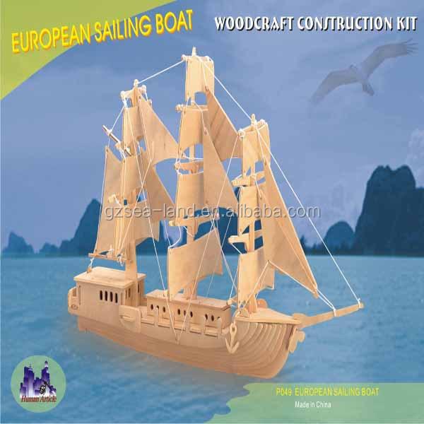 antiguo barco seriemodelo europeo del barco madera d puzzle juego educativo para