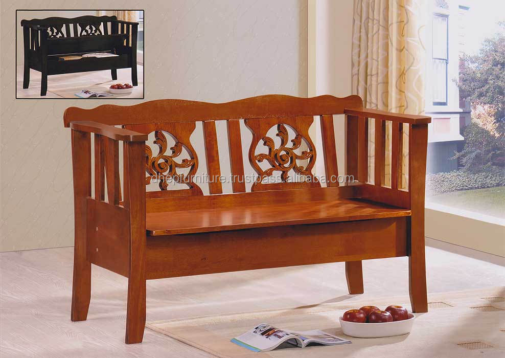 Classic Indoor Wood Bench Chair With Rest Back & Storage Seat - Buy ...