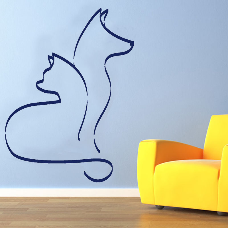 Hot Sale Simple Printed Animal Home Decor Cat And Dog Wall Sticker PVC Waterproof Living Room Decoration