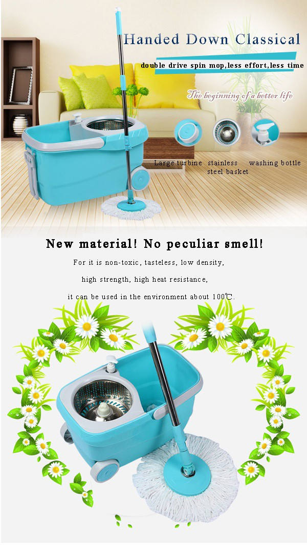 360 easy wring spin mop and bucket system with wheels includes 4 free mop heads