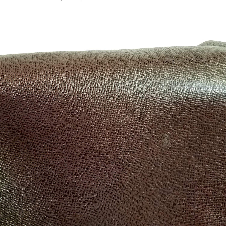 "20""x 30"" Leather Cutting piece Brown Saffiano Cross Hatch Handbag Chap Shoe Cowhide Genuine Leather Hide Skin (20"" X 30"" Cutting)"