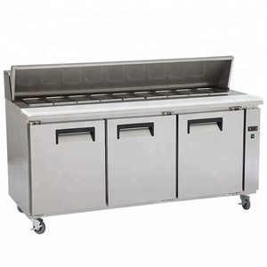 Guangzhou manufacturer CE certificated 3 door commercial kitchen salad bar refrigerator supplier