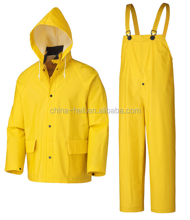 yellow pvc polyester raincoat with bib pants, rubber rain suit
