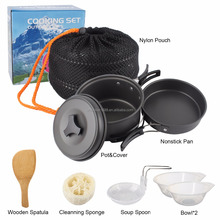 Portable Mini Camping Cookware, Hiking Picnic Cooking Set camping cookware mess kit with foldable handle
