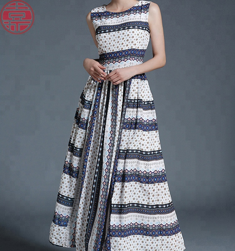 2018 women flowers maxi chiffon floral print long <strong>dress</strong>