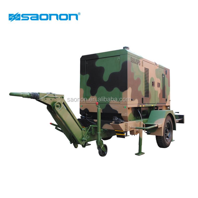 Dễ dàng di chuyển 250kva diesel trailer máy phát điện với hai bánh xe