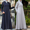 Oem supplier long sleeve flare v neckline fancy design muslim party dress abaya