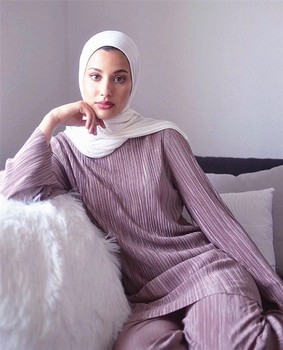 women Pleated cotton clothing lady suit islamic clothing