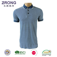 Front placket mens polo shirt in jeans yarn