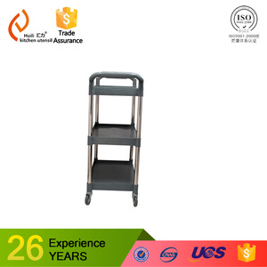Cheap Prices and hot sell Customize Plastic Board Three-Layer with stainless steel column Service / Serving Trolley Cart