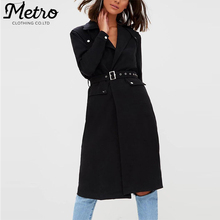 Fashion Women Black Belted Trench Long Coats
