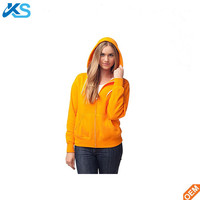 Slim Fit unisex Sweatshirt 60%Polyester 40%Cotton Fleece Zip-up solid orange color Basic Hoodie for Men and Women