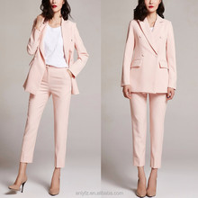 2016 Anly wholesale autumn koreanfashion plain pink ladies long sleeves formal salwar suit design