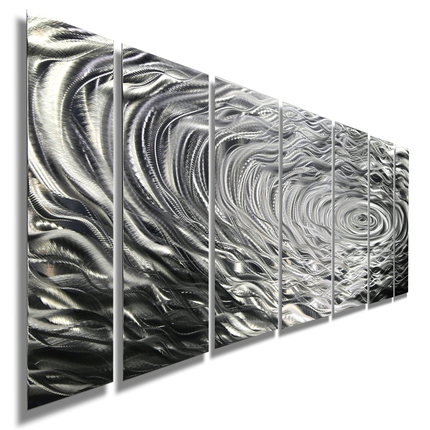 Get quotations · large silver water inspired metal wall art contemporary metal wall art decor sculpture ripple