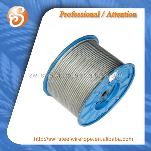 Zinc plated steel wire rope for oilfields,fiber linear contacted wire rope 6*19w in DIN3059