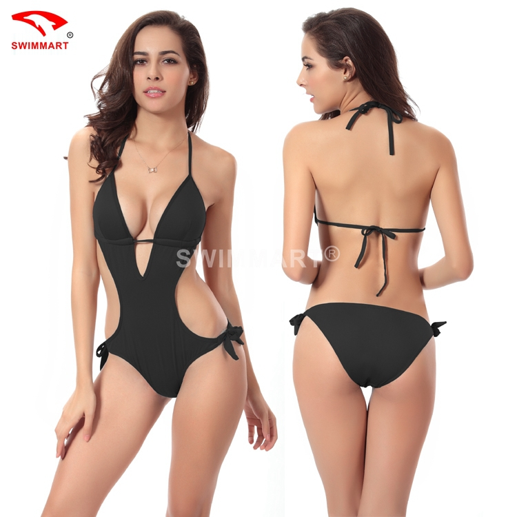 387eff9329 Summer Style One Piece Swimsuit Sexy Women Girl Triangl Swimwear Bodysuit  Black Bathing Suit High