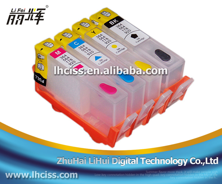 Use for HP Photosmart 5510 5515 6510 B109a printer 364 Refill ink cartridge with Reset chip