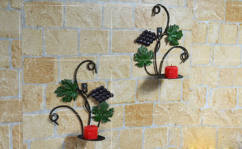 Whole Metal Handicrafts Antique Plant Leaves Candle Holder Wrought Iron Wall Decor Flowers