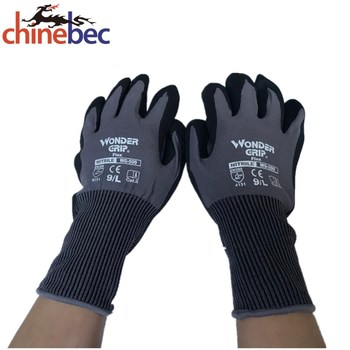 Hand safety work glove crinkle finish nitrile coated gloves