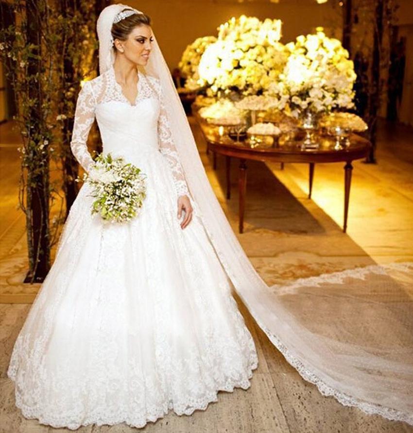 Aliexpress.com : Buy Romantic Elegant Sheer Muslim White ... Lace Romantic Vintage Wedding Dresses With Sleeves