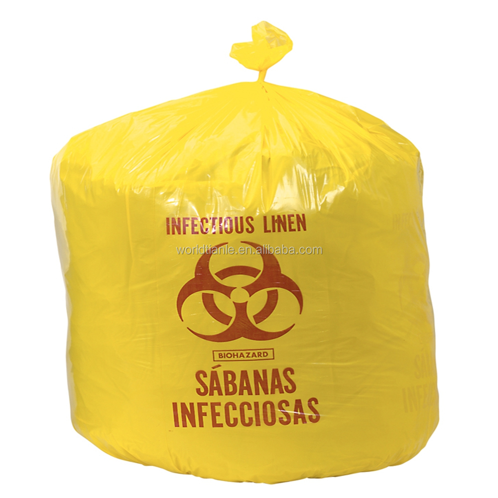 Heavy duty medical waste packing biohazard plastic garbage bags on roll