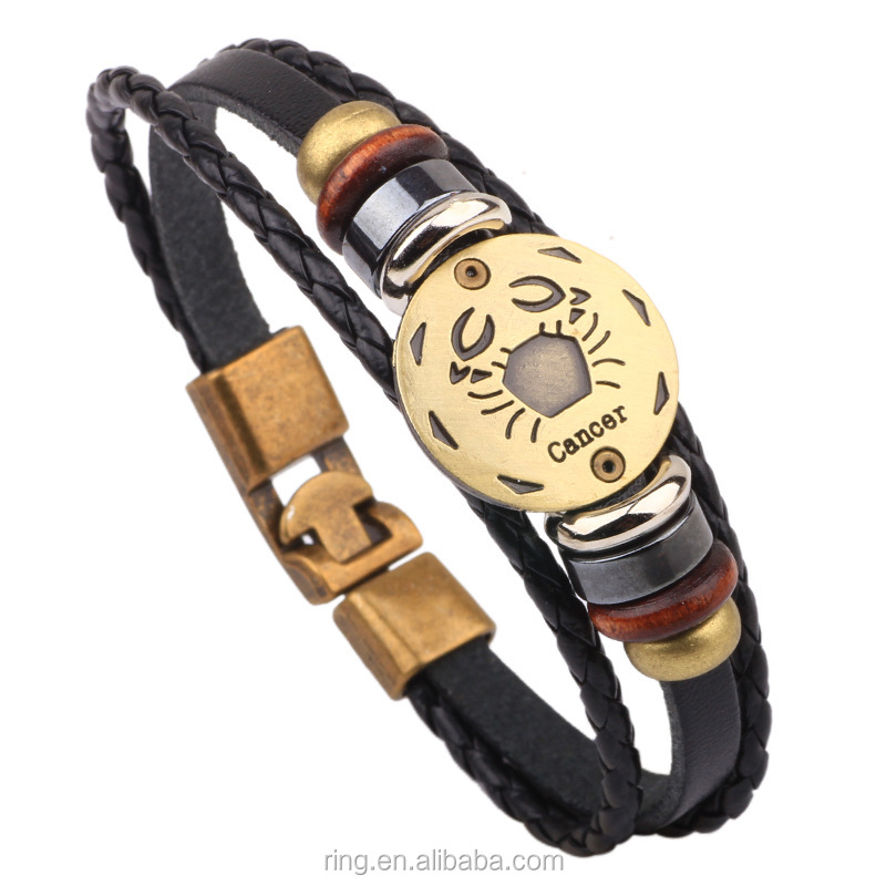 Latest Handmade Genuine Leather Braided Vintage Beads Zodiac Sign Cancer Charm Bracelet