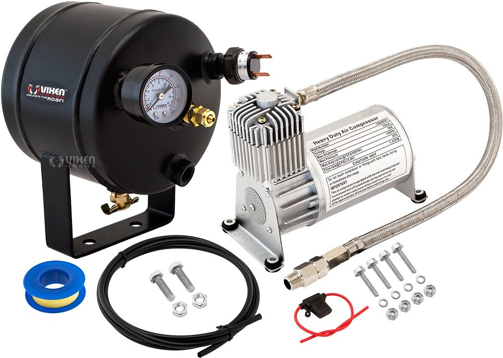 Vixen Horns 0.5 Gallon (2 Liter) Train/Air Horn Tank with 150 PSI Compressor Onboard System/Kit 12V VXO8705