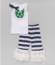 clothing manufacturing companies wholesale outfits kids international clothing Green Daisy Tank & Navy Ruffle Pants