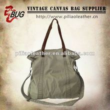 2012 Latest Design 100% Cotton Garment Handbag With Leather For Men/Women Good For Travelling