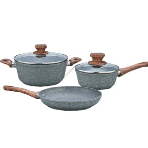 5 pcs forged aluminum marble coating cookware with wooden handle