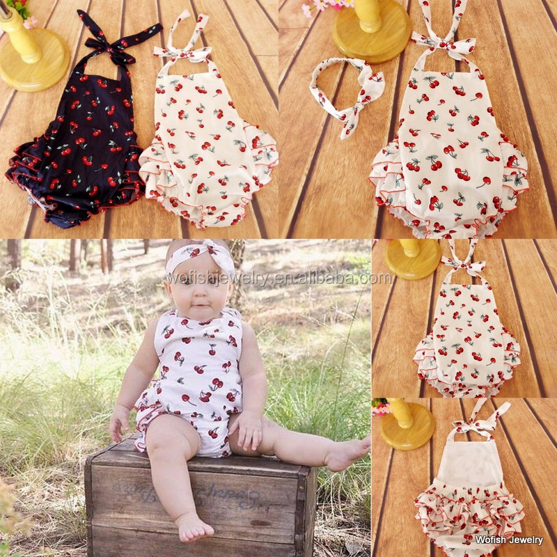 Cute white cherry pattern cotton baby romper
