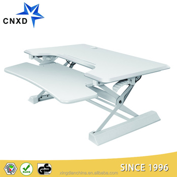 Height adjustable computer/laptop sit stand desk with keyboard tray