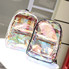 Osgoodway2 New College Girl Holographic Student Backpack Transparent Jelly PVC Laser Backpack Bag