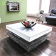 Classic modern high gloss white glass coffee table