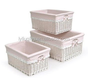 Lined White Pink Wicker Gift Storage Basket Baskets Handmade