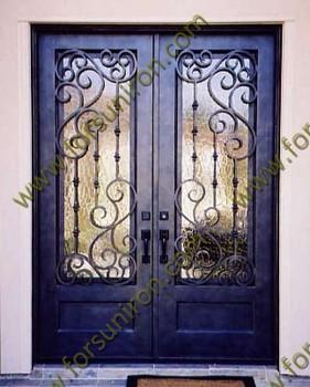 Elegant wrought iron door design with pure hand forged scrolls buy wrought iron double door - Wrought iron indoor decor classy elegance ...