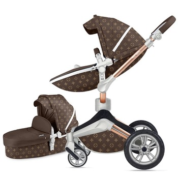 2019 New Hot Mom Pu Leather Stroller Color Brown Star