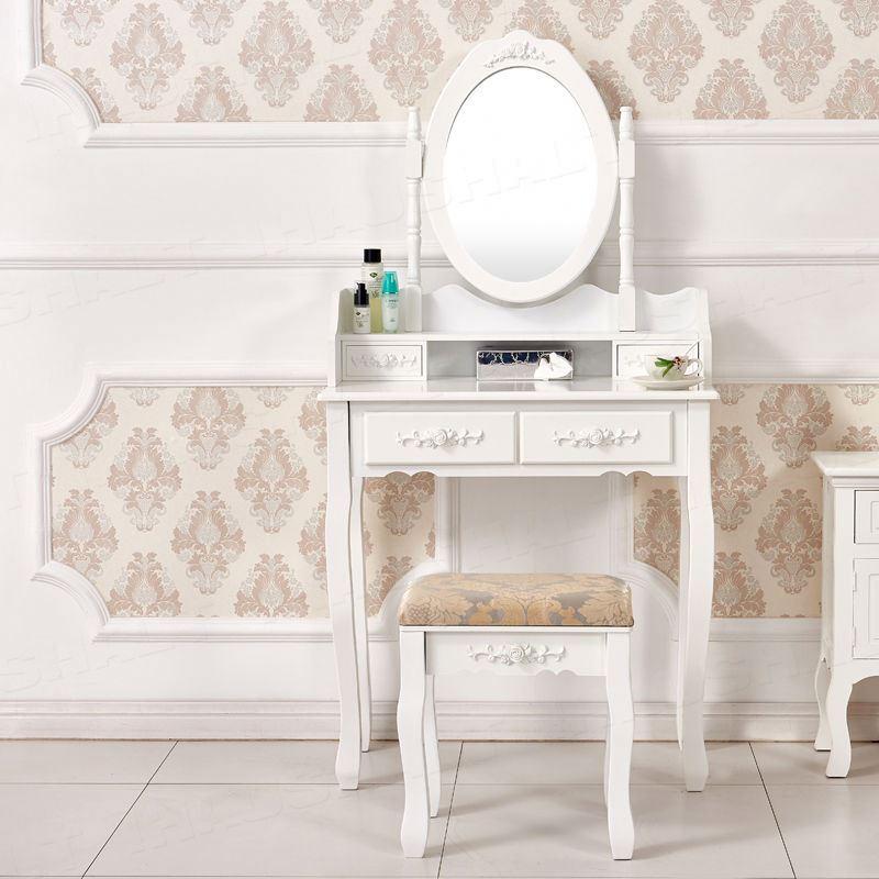 מותאם אישית חדש בציר עיצוב מודרני חדר שינה עץ ריהוט יהירות הלבשה שולחן לבן איפור Tocador שידה עם מראה