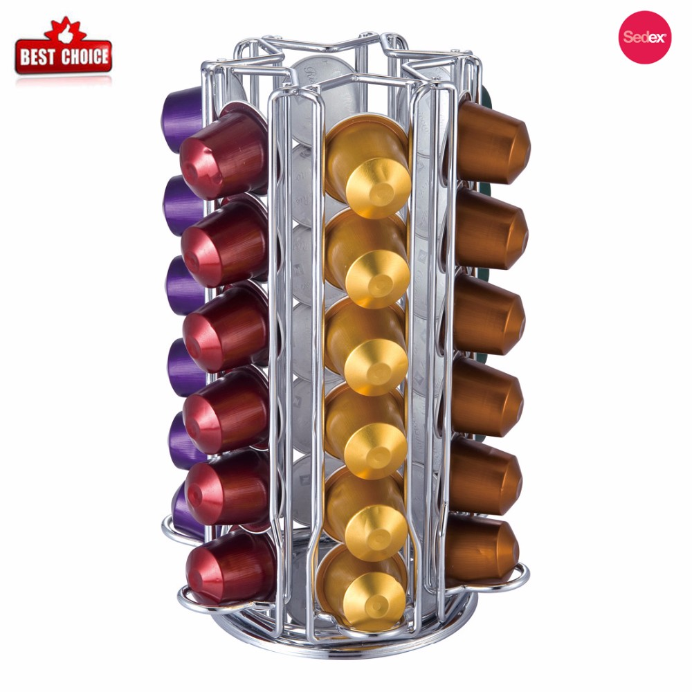 Electroplated Coffee Storage Spinning Carousel Organizer 35 Pod coffee capsule holder for dolce gusto