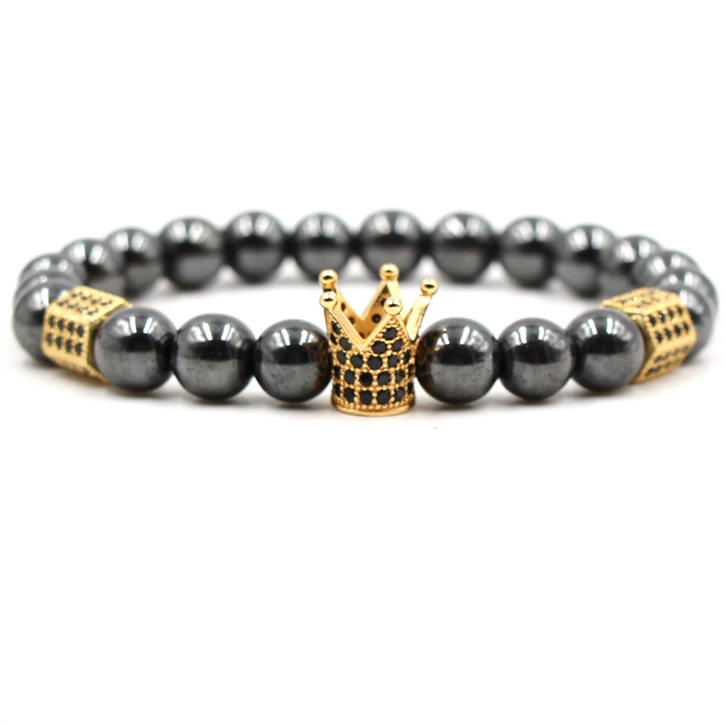 European Style <strong>Energy</strong> Healing <strong>Magnetic</strong> Hematite Beads CZ Crown <strong>Bracelet</strong> For Men