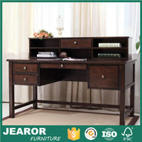 Solid Ash Wood Rustic Laptop Computer Desk with Hutch 4005
