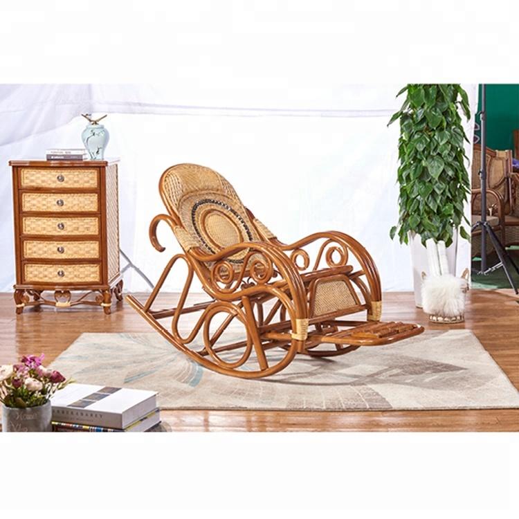 Luxury Rocking Chair Rattan Wicker Furniture Indoor Living Room Glider Recliner Modern Easy