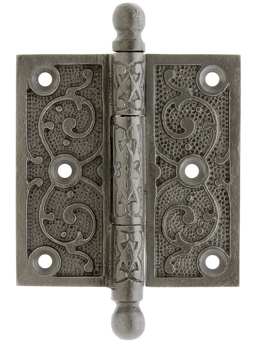"House of Antique Hardware R-04DE-200-AI-BT Cast Iron 3 1/2"" Ball Tip Hinge with Decorative Vine Pattern in Antique Iron"