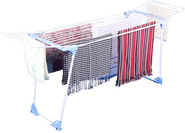 Wing Folding Telescopic Steel Laundry Clothes Drying Rack Stand with Wheel