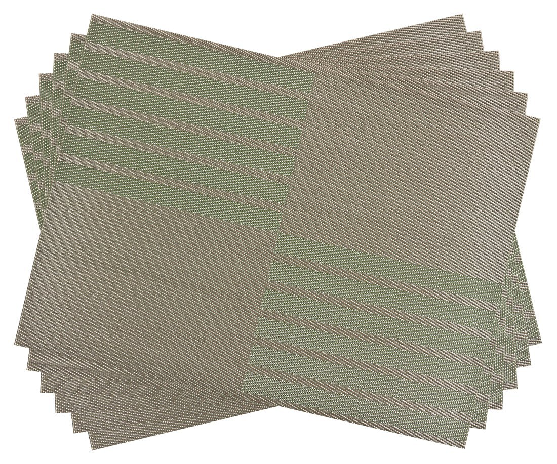 SiCoHome Placemats PVC Dining Room Placemats for Table Heat Insulation Stain-resistant Woven Vinyl Kitchen Placemat Vinyl Placemats,set of 6 (Diagonal Stripe,Green)
