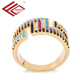 Fashionable coloured zircon ring 24 carat gold ring alloy gold wedding ring set fashion jewelry